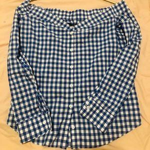 Reformation Off the shoulder Plaid Shirt (L)